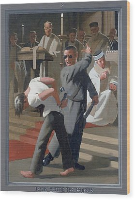8. Jesus Before The Priests / From The Passion Of Christ - A Gay Vision Wood Print by Douglas Blanchard