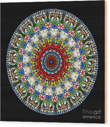 Kaleidoscope Stained Glass Window Series Wood Print by Amy Cicconi