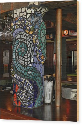 Mosaic Pillar Wood Print by Charles Lucas