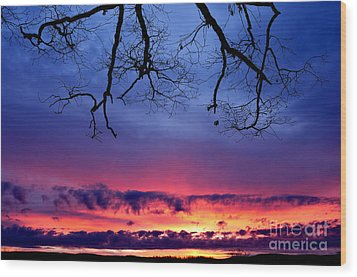 Red Sky At Morning Wood Print by Thomas R Fletcher