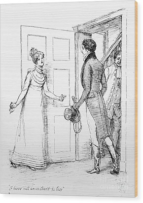 Scene From Pride And Prejudice By Jane Austen Wood Print by Hugh Thomson