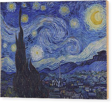 Starry Night Wood Print by Vincent Van Gogh