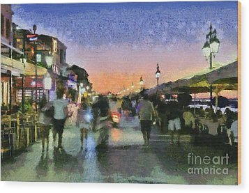 Sunset In Lefkada Town Wood Print