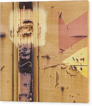 Train Art Abstract Wood Print by Carol Leigh
