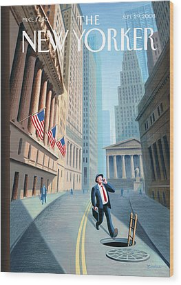 New Yorker September 29th, 2008 Wood Print by Eric Drooker