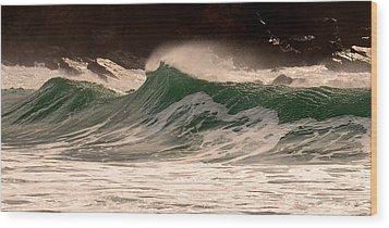 Waves Wood Print by Barbara Walsh
