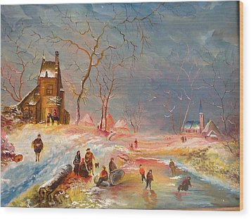 Wood Print featuring the painting Winter Landscape by Egidio Graziani