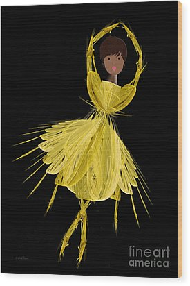 8 Yellow Ballerina Wood Print by Andee Design