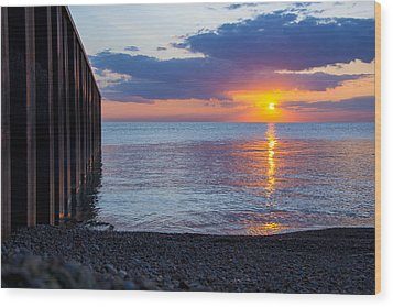 Wood Print featuring the photograph 8.16.13 Sunrise Over Lake Michigan North Of Chicago 001 by Michael  Bennett