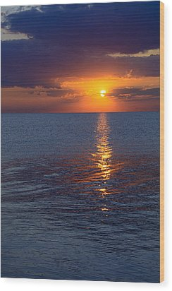 Wood Print featuring the photograph 8.16.13 Sunrise Over Lake Michigan North Of Chicago 002 by Michael  Bennett