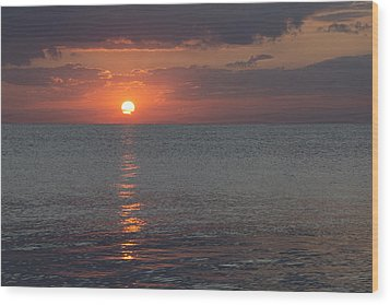 Wood Print featuring the photograph 8.16.13 Sunrise Over Lake Michigan North Of Chicago 004 by Michael  Bennett