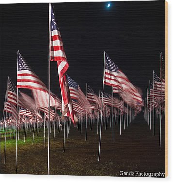 9-11 Flags Wood Print