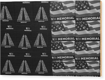 9/11 Memorial For Sale In Black And White Wood Print by Rob Hans