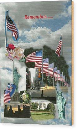 9-11 Remembrance Wood Print