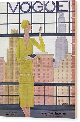 A Vintage Vogue Magazine Cover Of A Woman Wood Print by Georges Lepape
