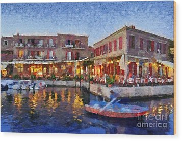 Molyvos Town In Lesvos Island Wood Print by George Atsametakis