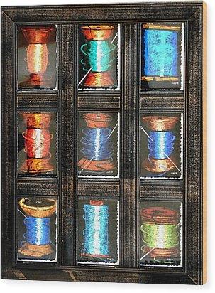 9 Spools Wood Print by Joseph Hawkins