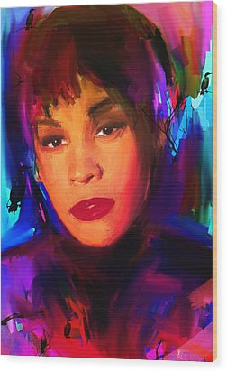 Whitney Houston Wood Print