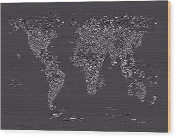 World Map Of Cities Wood Print by Michael Tompsett