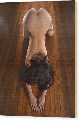 9151 Beautiful Submissive Woman Prostrate On Floor Wood Print