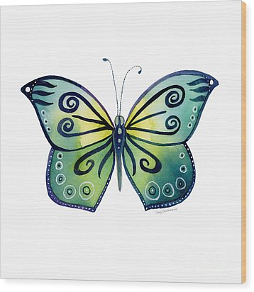 92 Teal Button Cap Butterfly Wood Print by Amy Kirkpatrick