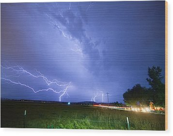 95th And Woodland Lightning Thunderstorm View Wood Print by James BO  Insogna