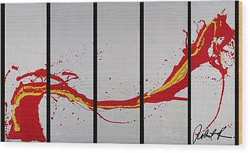 96x49 The Red Dragon  - Black Fire - Huge Signed Art Abstract Paintings Modern Www.splashyartist.com Wood Print