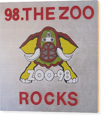 98.the Zoo Rocks Wood Print by Donna Wilson