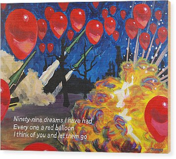 99 Red Balloons Wood Print