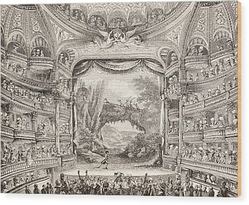 A 1789 Performance In The Theatre Des Varietes Amusantes Wood Print by French School