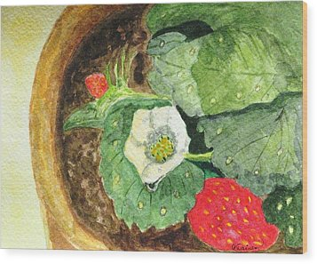 Wood Print featuring the painting A Balcony Strawberry Plant by Angela Davies