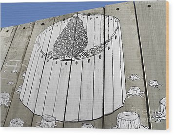 A Banksy Graffiti On The Separation Wall In Palestine Wood Print by Roberto Morgenthaler