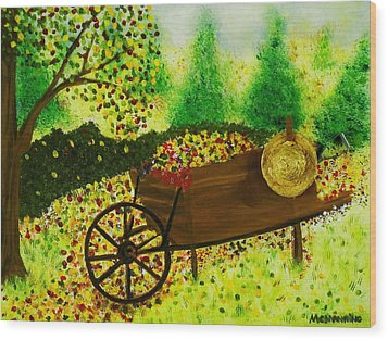 Wood Print featuring the painting A Barrel Full Of Fun by Celeste Manning