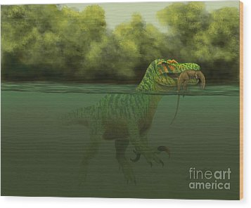 A Baryonyx Escapes Swimming Wood Print by Alvaro Rozalen
