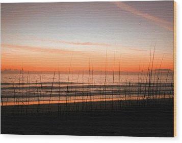A Beachwork Orange Wood Print