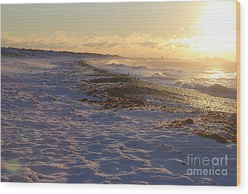 A Beachy Sunrise In The Winter Wood Print
