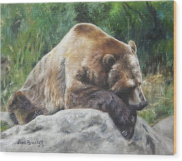 Wood Print featuring the painting A Bear Of A Prayer by Lori Brackett