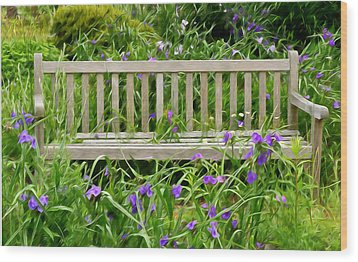 A Bench For The Flowers Wood Print by Gary Slawsky