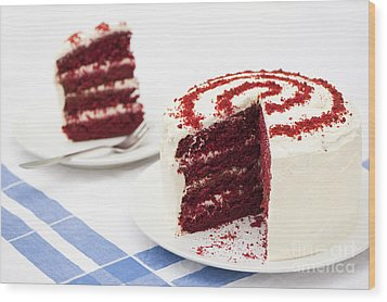 A Big Red Cake Wood Print by Anne Gilbert