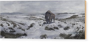 A Bison Latifrons In A Winter Landscape Wood Print by Roman Garcia Mora
