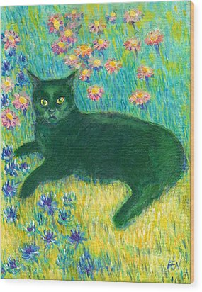 Wood Print featuring the painting A Black Cat On Floral Mat by Jingfen Hwu