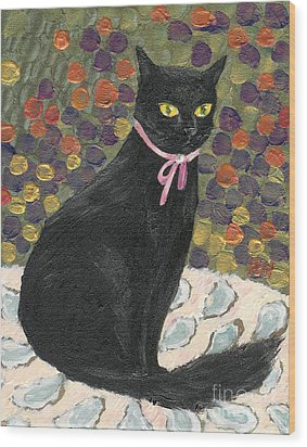 Wood Print featuring the painting A Black Cat On Oyster Mat by Jingfen Hwu