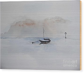 Wood Print featuring the painting A Blue Mooring by Sibby S
