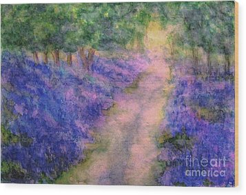A Bluebell Carpet Wood Print by Hazel Holland