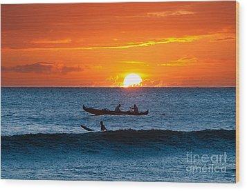 A Boat And Surfer At Sunset Maui Hawaii Usa Wood Print