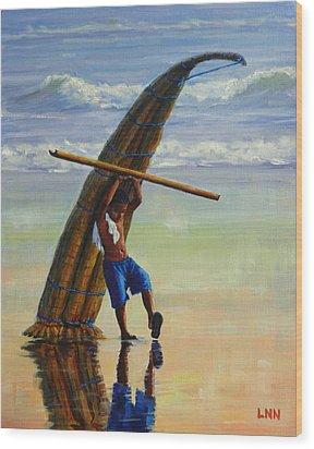 A Boy And His Caballito De Totora Wood Print