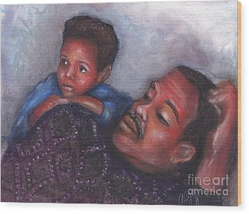 Wood Print featuring the mixed media A Boy And His Dad by Alga Washington