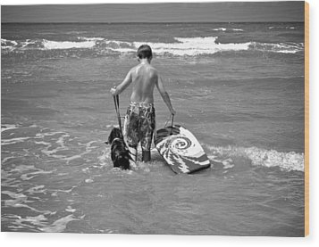 A Boy And His Dog Go Surfing Wood Print by Kristina Deane