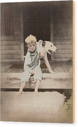 Wood Print featuring the photograph A Boy And His Dog by Ron Crabb