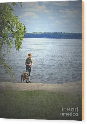 A Boy And His Dog Wood Print by Sandra Clark
